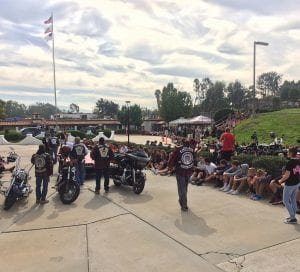 Riders from two Indian Motorycle Clubs gathered with students in the driveway of Escondido Christian School for a rally before delivering the shoes to local non-gaming reservations.